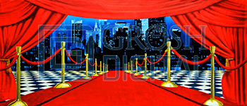 Red Carpet Cityscape Projected Backdrop for Celebration, Dance, Hollywood