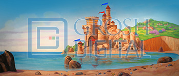 Castle on the Beach Projected Backdrop for Beach/Tropical, Landscapes, Little Mermaid
