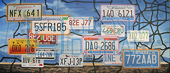 License Plate Montage Projected Backdrop for Dance, Desert, Landscapes, Travel