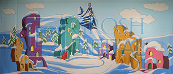 Whoville Projected Backdrop for Exteriors, Landscapes, Seussical, Snow Backdrop Projections, Towns