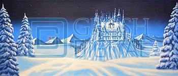 Ice Castle Projected Backdrop for Castles, Exteriors, Frozen, Nutcracker, Snow Backdrop Projections
