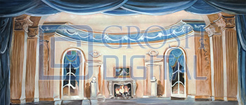Parlor Interior Projected Backdrop for Dance, Interiors, Little Mermaid, Nutcracker, Palace/Parlors