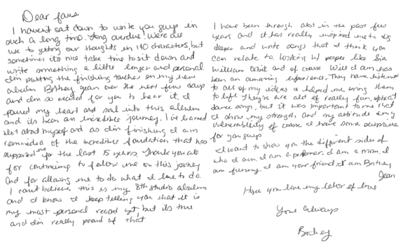 Letter from Britney Jean