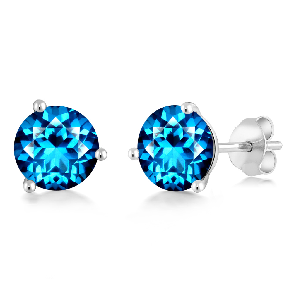 14K White Gold Earrings Set with Round Kashmir Blue Topaz from Swarovski