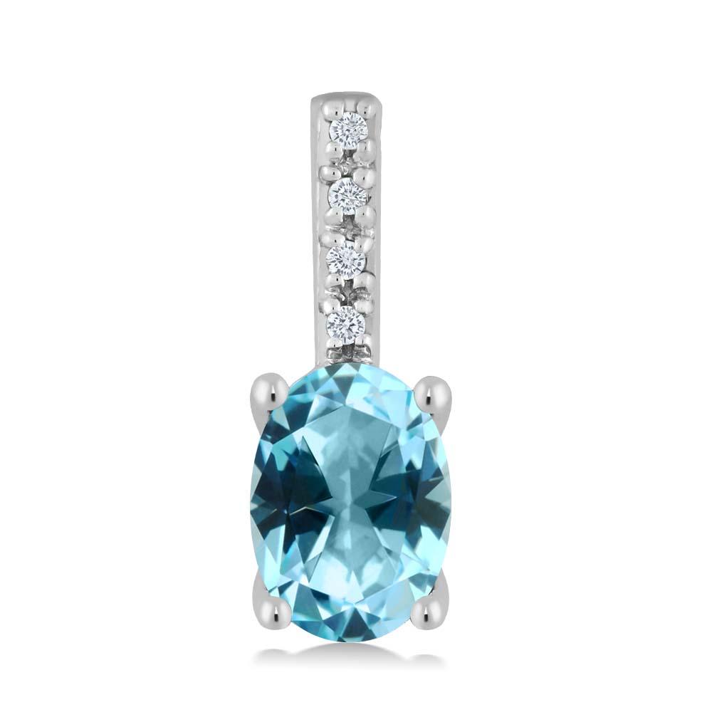14K White Gold Diamond Pendant Set with Oval Ice Blue Topaz from Swarovski