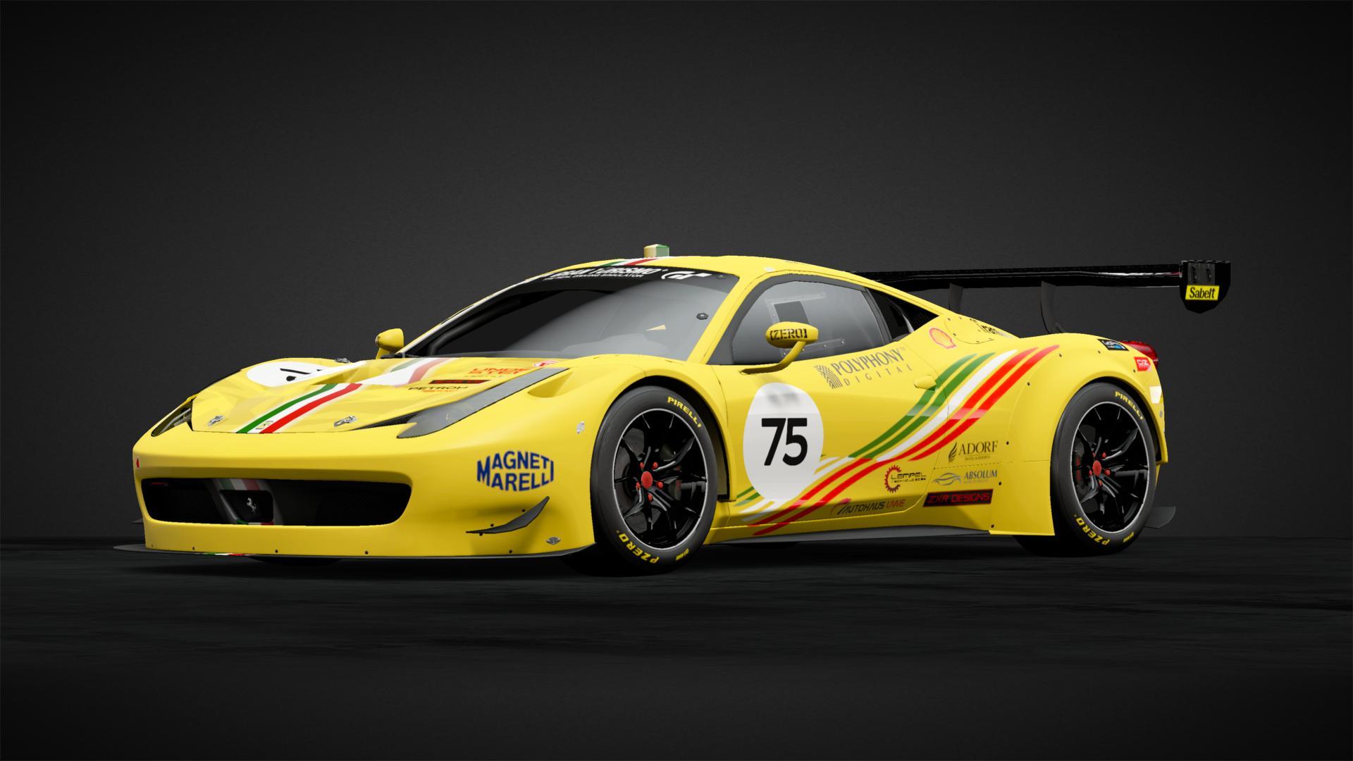 Ferrari 458 Italia Gt3 Yellow Car Livery By Bigdave S75 Community Gran Turismo Sport