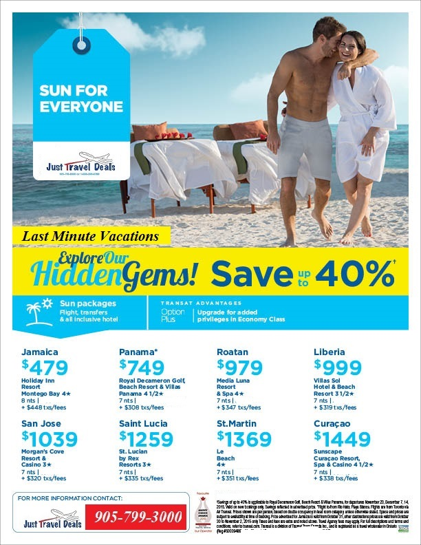 Sun caribbean packages for Last minute travel california
