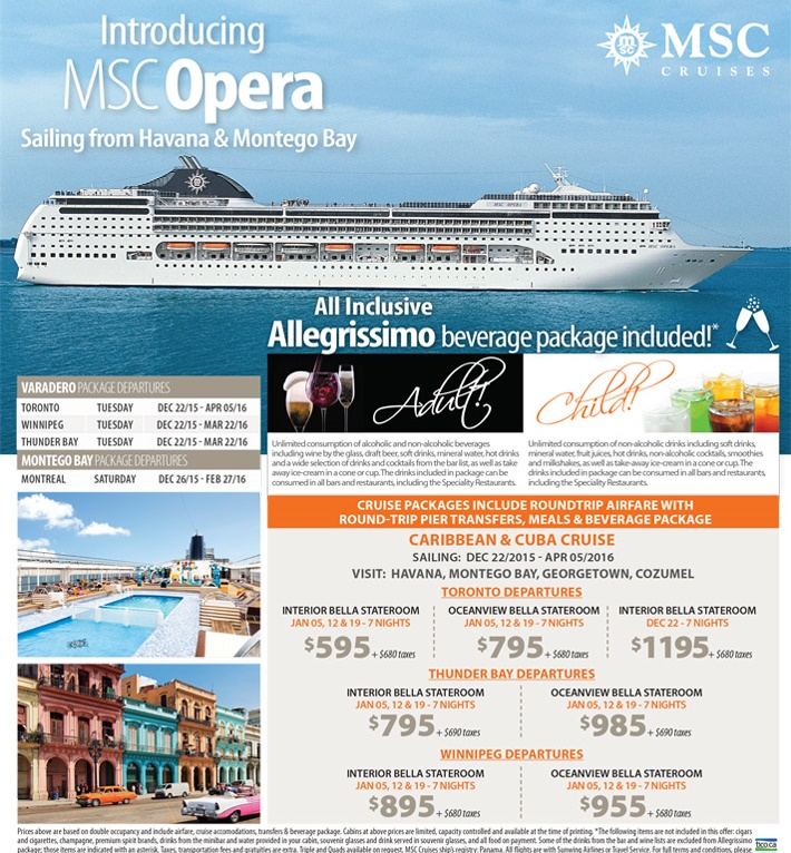Introducing Msc Opera From 595 All Inclusive Beverage