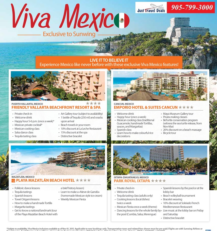 Experience Exclusive Viva Mexico Features Only With Sunwing