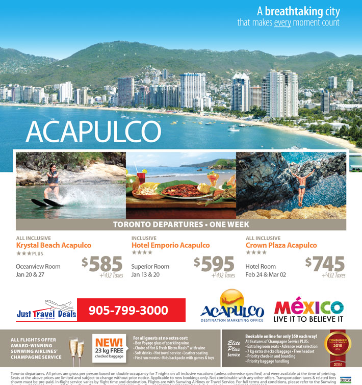 Acapulco last minute vacations from 585 toronto for Last minute travel california