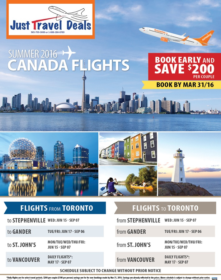 Book Early And Save 200 Per Couple On Canada Flights