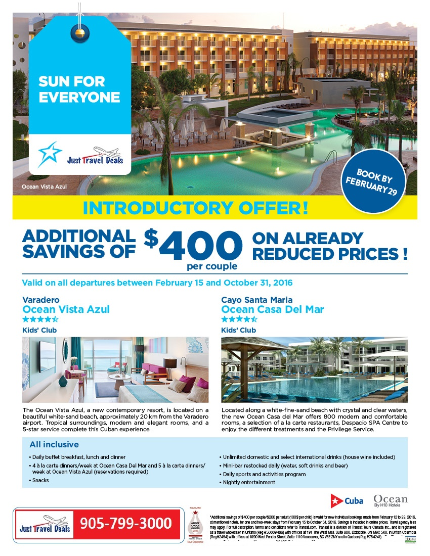 Introductory Offer Additional Savings Of 400 At Ocean Resorts Cuba