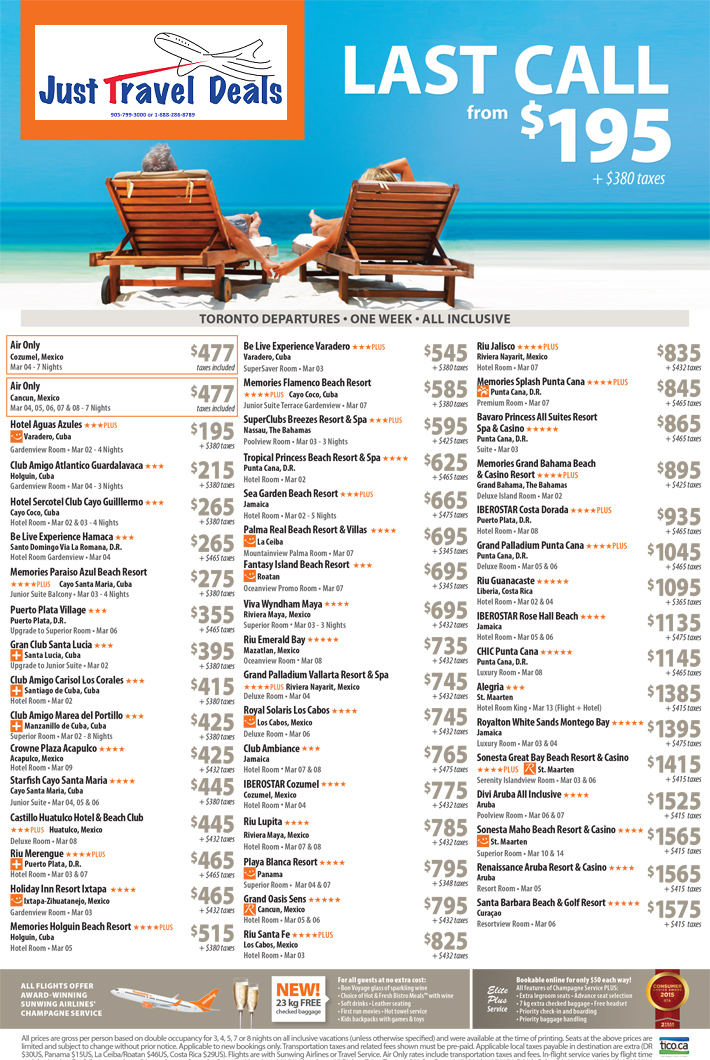 vacations last call vacations from 195 toronto departures. Black Bedroom Furniture Sets. Home Design Ideas