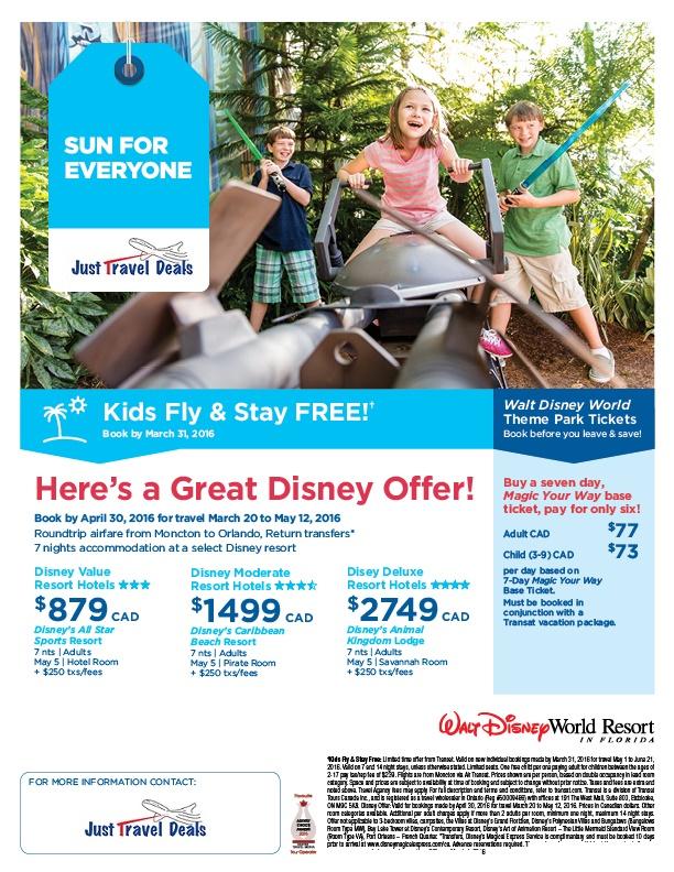 Kids Fly Amp Stay Free At Disney Resorts Moncton Departures