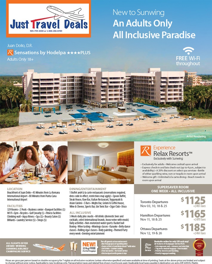 Experience Sensations By Hodelpa Vacations From 1125