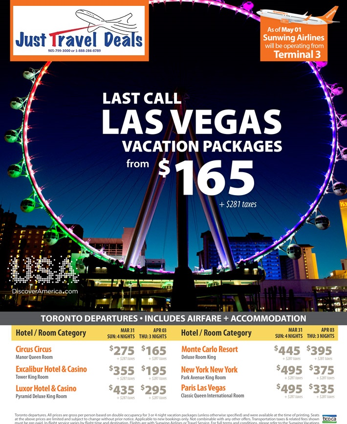 Last Call Las Vegas Vacation Packages From 165 Toronto Departures
