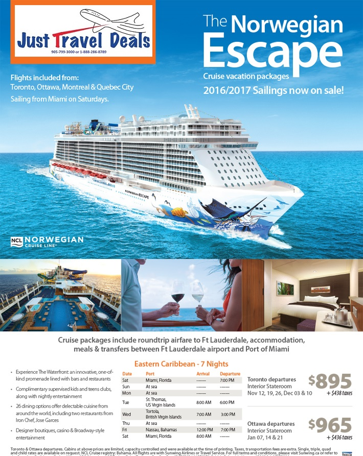 Ncl Escape Packages For 2016 17 On Sale Now