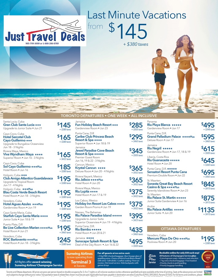Last minute vacations from 145 toronto and ottawa for Last minute travel california