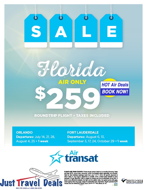 Florida Cheap Tickets Sale Only 259