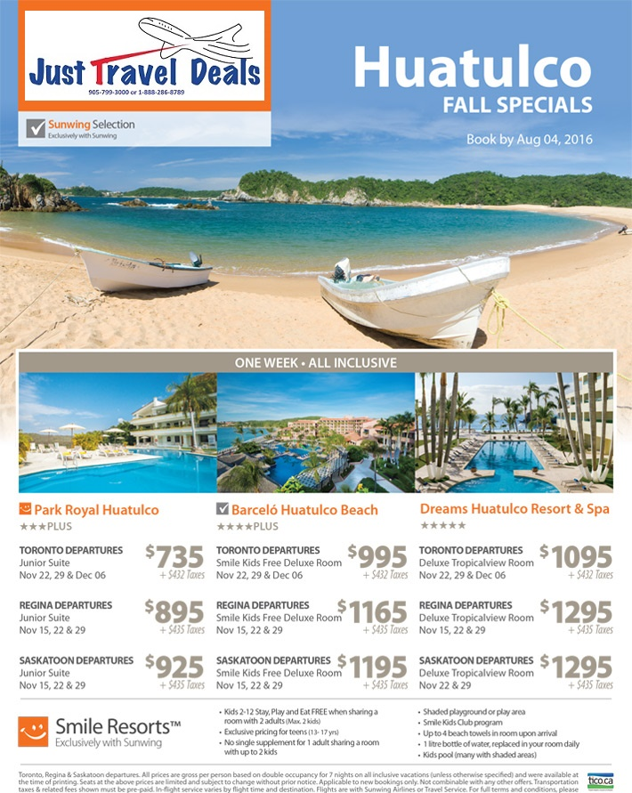 Experience Huatulco Vacations Hotels Amp Flights Fall Specials