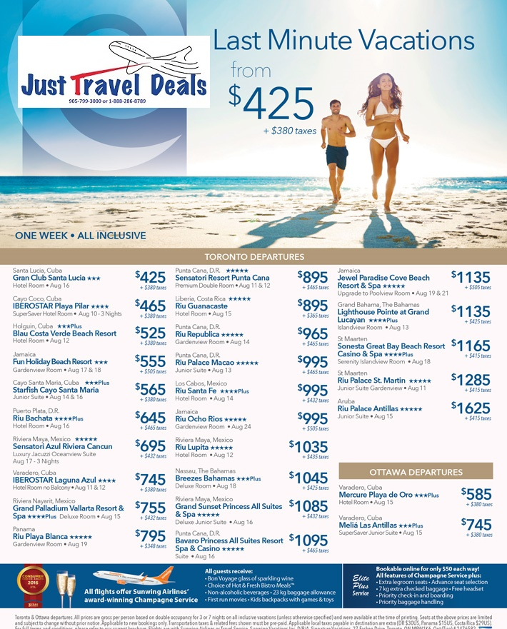 Last minute travel vacations from 425 toronto and for Last minute travel california