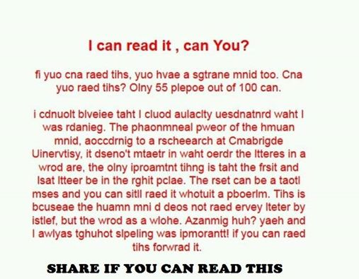 I Can Read This Can You
