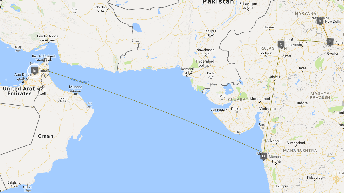 Map of the itinerary of this amazing tour of India and Dubai.