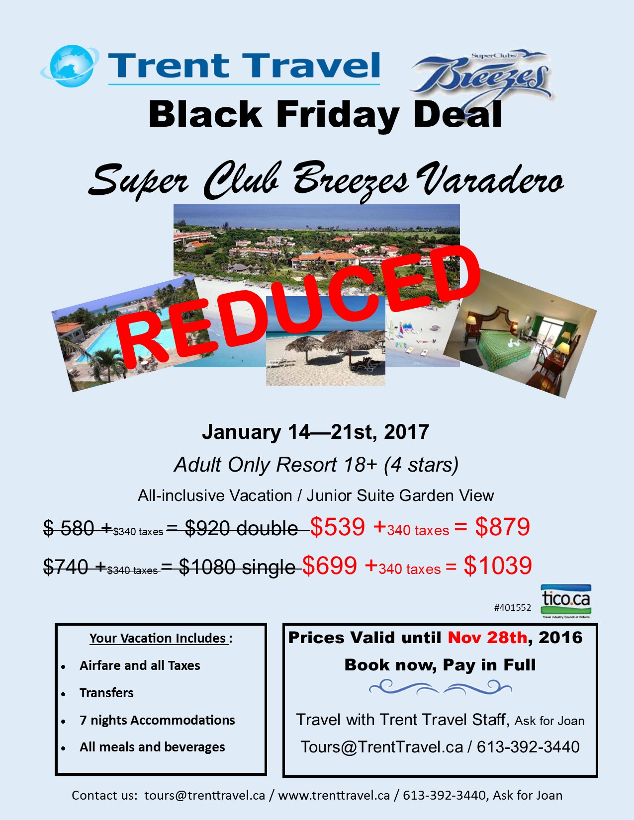 Super club breezes black friday deal for Black friday vacation deals all inclusive