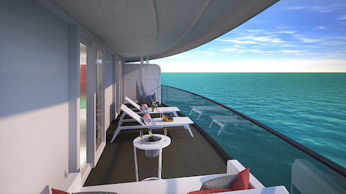 (Photo, Virgin Voyages, Scarlet Lady, View from the Cheeky Corner Suite's terrace with hand-woven hammock and champagne bucket-style table.