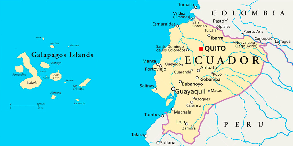 Days Treasures Of Ecuador Upper Amazon Andes And Galapagos - Map where is the galapagos islands relative to the us