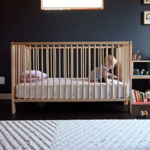 Ikea gulliver crib with modern kids also chevron curtains dark walls ikea gulliver crib west elm chevron rug