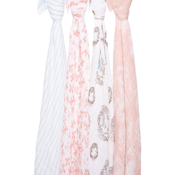 2062 1 muslin swaddle bird flower bow nest pink