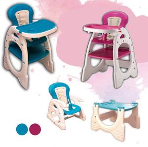 Silla de Comer 3 en 1, silla de comer + mesa + sillon + Hamaca + reclinable + pupitre + Acolchada + Irrompible