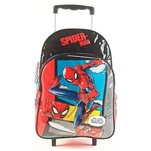 """Mochila Con Carrito Spiderman 16"""" Licencia Original"""