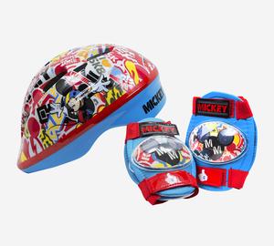 Set Casco y Protectores Mickey Mouse Ajustables Para Skate o Bicicletas Original