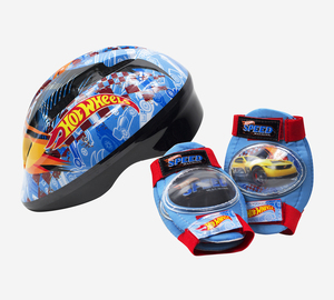 Set Casco y Protectores Hot Wheels Ajustables Para Skate o Bicicletas Original