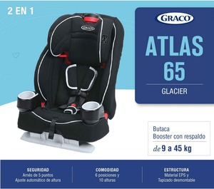 Butaca Booster con Respaldo Graco Atlas de 9 a 45 kg Sistema Latch