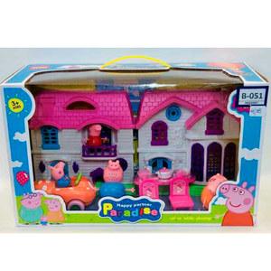 Casa Peppa Pig + Autos + 4 Muñecos y Comedor