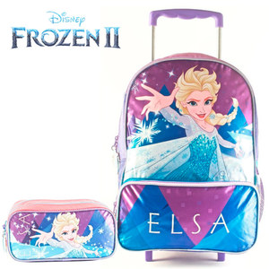 """Combo Elsa Frozen Mochila con Carrito 16"""" y Cartuchera Original"""