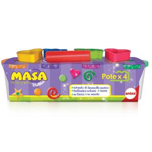 4 Potes de Masa con Brillo Moldes y Herramientas para Crear y Modelar Antex