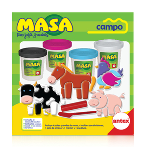 Masa Campo con 4 Potes Moldes y Herramientas para Modelar