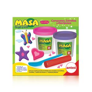 Masa Corazones  2 potes de masa + moldes de corazones, estrellas y mariposas