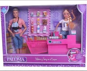 Paloma Muñeca y Tomy en el Super + Carrito + Caja