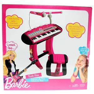 Teclado Rock Star Barbie Con Base Taburete Y Microfono