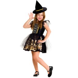 Halloween Disfráz Brujita Calaveras Traje + Sombrero