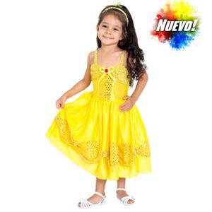 """Disfraz de Princesas para Bebas """" Bella """" de la Bella y la Bestia  Vestido + Vincha"""