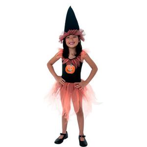 Halloween Disfraz Bruja de las Calabazas Vestido + Sombrero