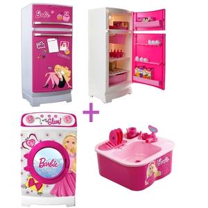 Combo Princesas Barbie Heladera + Lavarropas + Lavavajilla