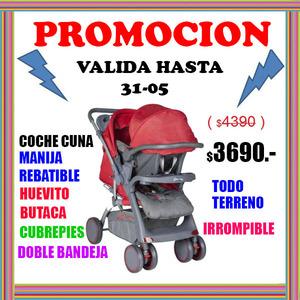 PROMOCION Coche Cuna Manija Rebatible + Butaca Huevito para el Auto