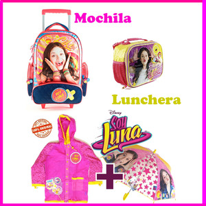 Combo Soy Luna Mochila c/ Carrito + Lunchera + Paraguas + Piloto